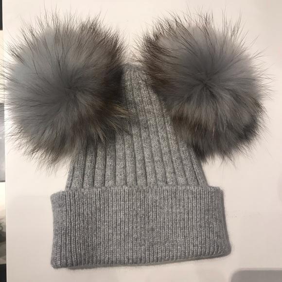 22f8108cf Angora Beanie hat with 2 removable fur pom pom Boutique